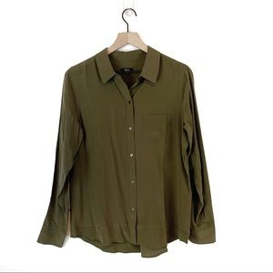 RAILS Kate Silk Olive Green Button Down Blouse
